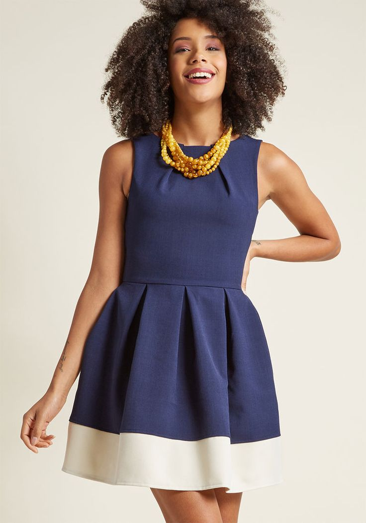Closet London Luck Be a Lady A-Line Dress in Navy Contrast in 10 (UK) - Sleeveless Fit & Flare Knee Length