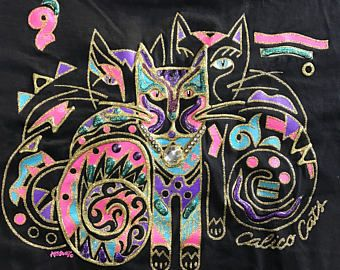 Vintage 80s Hand Painted Cat T Shirt One Size Womens Puff Paint Embellished Multi Color Black Novelty Top Ugly 90s PS Sport Made in USA
