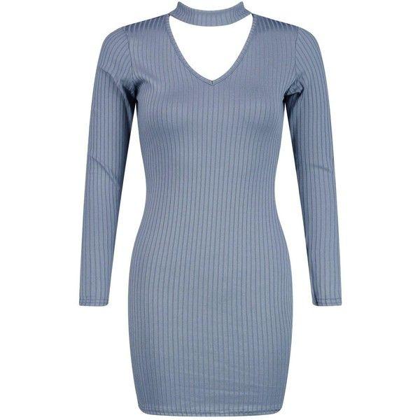 Boohoo Petite Sadie Rib Knit Choker Dress   Boohoo (650 UAH) ❤ liked on Polyvore featuring dresses, blue cocktail dresses, ribbed knit dress, petite dresses, petite cocktail dress and rib knit dress