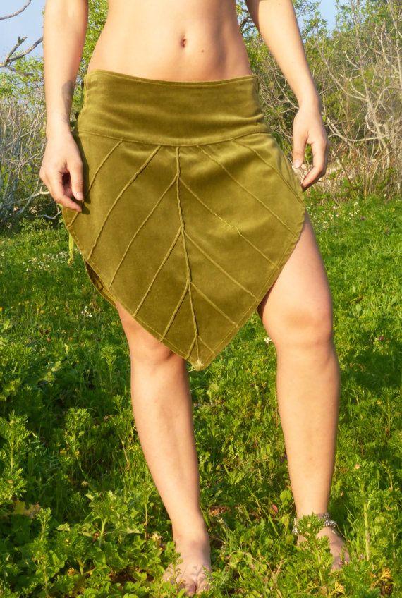 velvet leaf skirt- pixie faerie skirt- elf fairy skirt-forest skirt on Etsy, $70.36