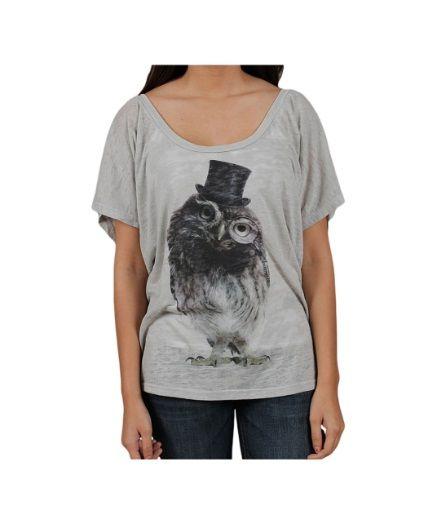 Womens Owl Silver Burnout Batwing T-Shirt