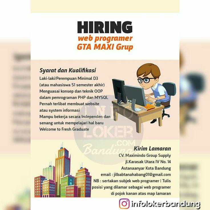 Lowongan Kerja Web Programmer GTA MAXI Grup Bandung Maret 2018