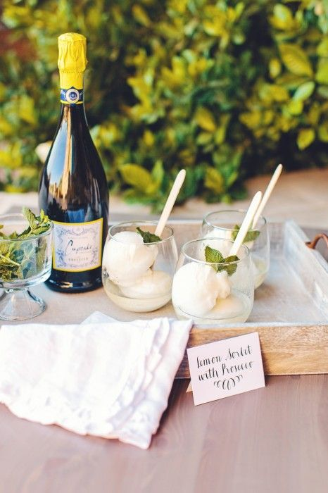 Lemon Sorbet with Prosecco styled by The TomKat Studio for Cupcake Vineyards