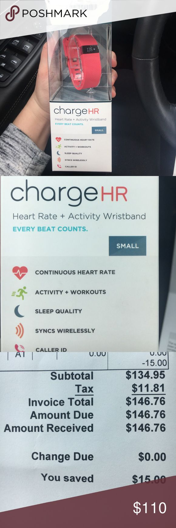 Fitbit Charge HR Small pink Fitbit charge HR for sale. Brand new in box, top ripped off of box before I realized i bought the wrong size and is not returnable. Has not been taken out of box. fitbit Accessories Watches