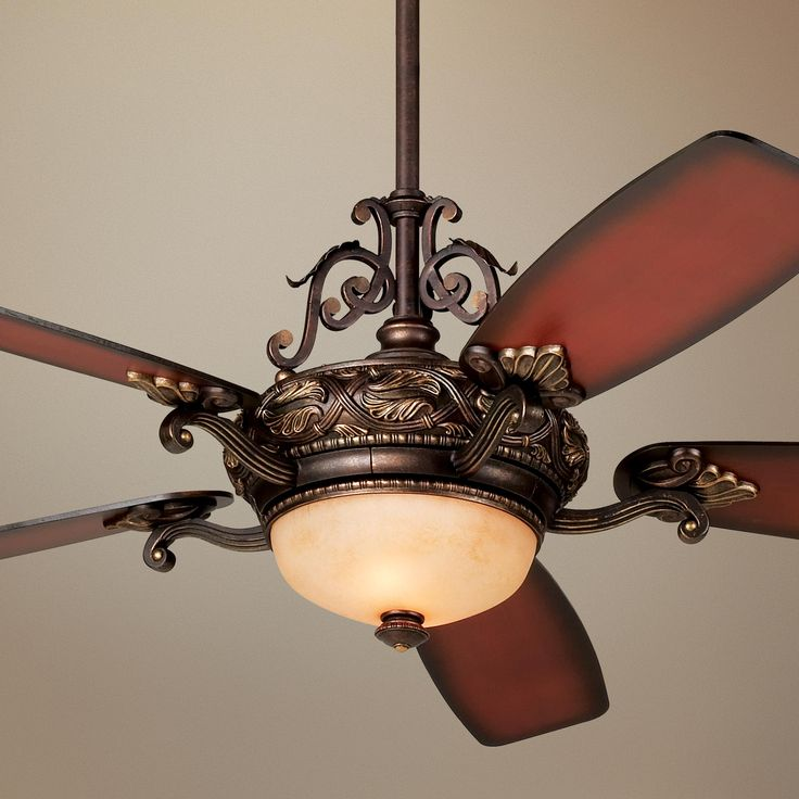 Tuscan Gold Finish Ceiling Fan With Italian Amber Scavo