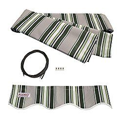 ALEKO Awning Fabric Replacement 12×10 Ft for Retractable Awning, MULTISTRIPE GREEN