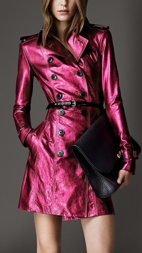 what a beautiful color <3  Mid-Length Metallic Leather Trench Coat   Burberry