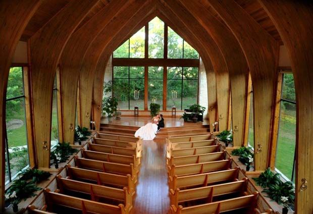 Bride and groom portrait at Harmony Chapel in Aubrey, north of Dallas / the beautiful wedding chapel with soaring glass windows accommodates 130 guests / Dallas wedding venues
