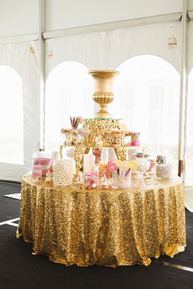 Glittering gold candy bar | Breathtaking Tented Romantic Wedding At The Oak's Club In Sarasota Florida | Photograph by Ashley Caroline Photography http://storyboardwedding.com/tented-romantic-wedding-oaks-club-sarasota-florida/