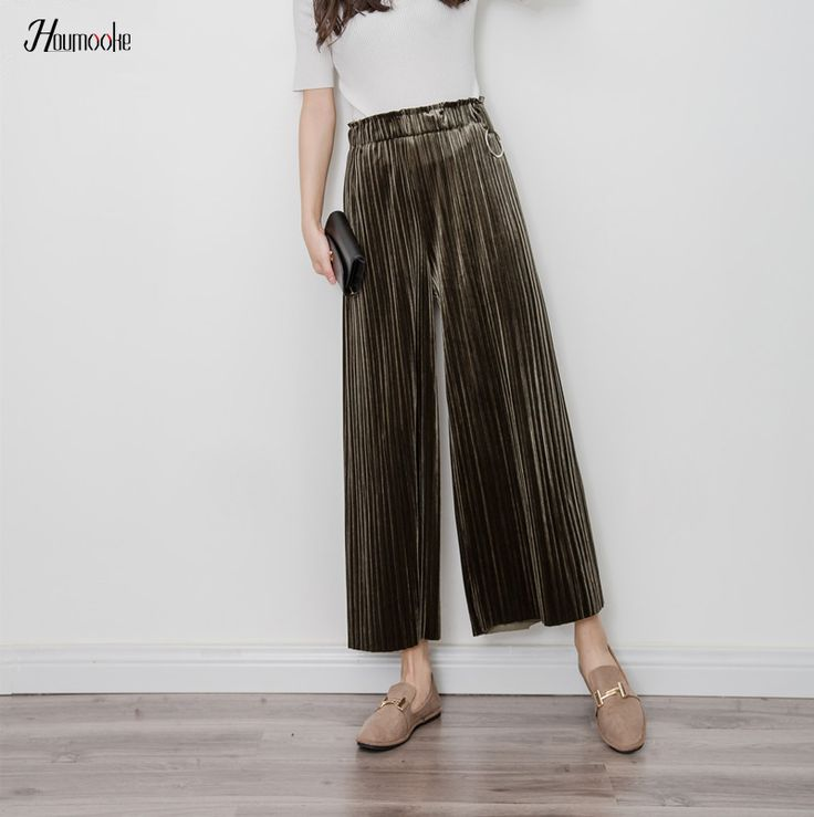 2017 Spring Summer Pleated Army velvet Wide Boho Pants Women Vintage Trousers New Clothing Fashion Slim Pleated Wide Pants