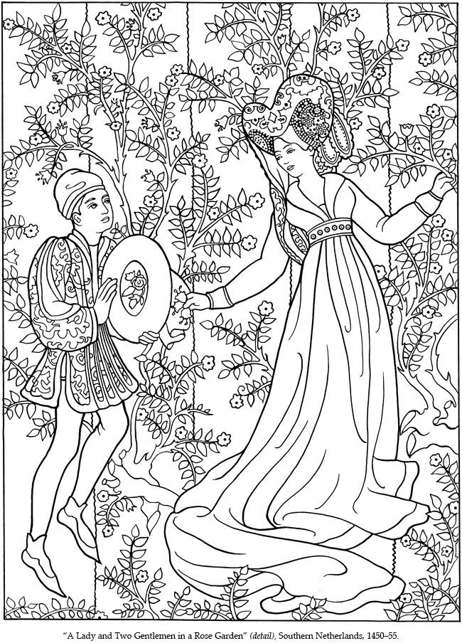 a lady and a gentleman in a rose garden medieval artwork coloring page by dover publications