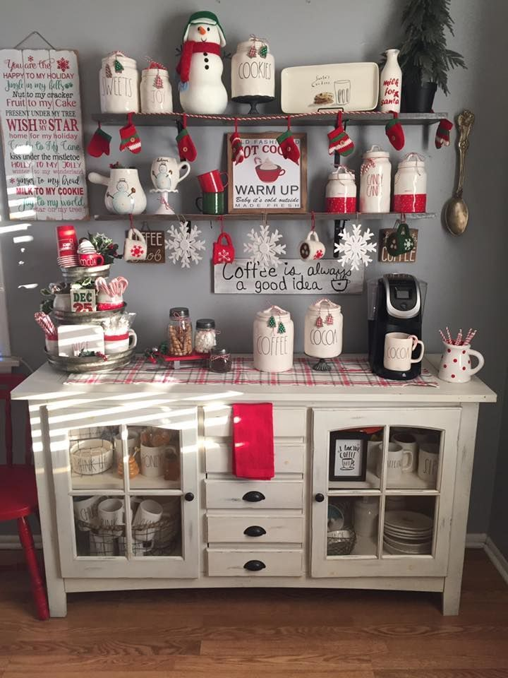 Turn The Coffee Bar Into A Holiday Coffee Experience Farmhouse Christmas Kitchen Christmas Kitchen Decor Christmas Home