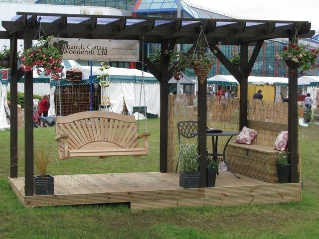 Pergola And 2 Seat Oak Sunrise Swing Garden Wooden Outdoor