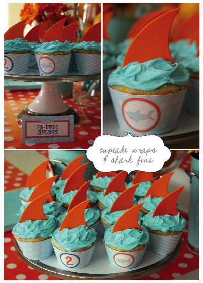 Shark Birthday Party!Sharks Cupcakes, Birthday Parties, Sharks Parties, Sharks Theme, Sharks Birthday, Orange Fin, Nelly Design, Parties Cupcakes, Birthday Ideas