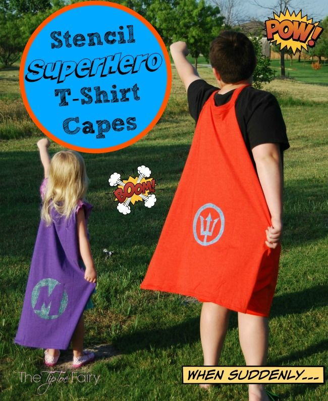 Upcycle T-shirt Capes are easy and fun and you can make your own stencils with Glad Press'n Seal!
