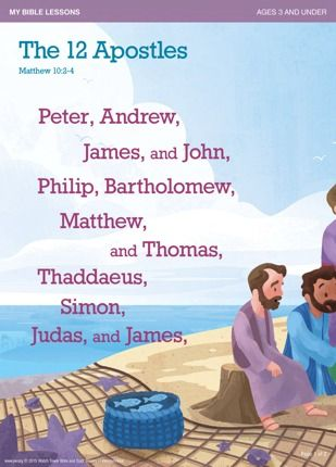 My Bible Lessons: Download & Print // Designed for children 3 & under. The 12 Apostles | Help your children to memorize the names of the 12 apostles