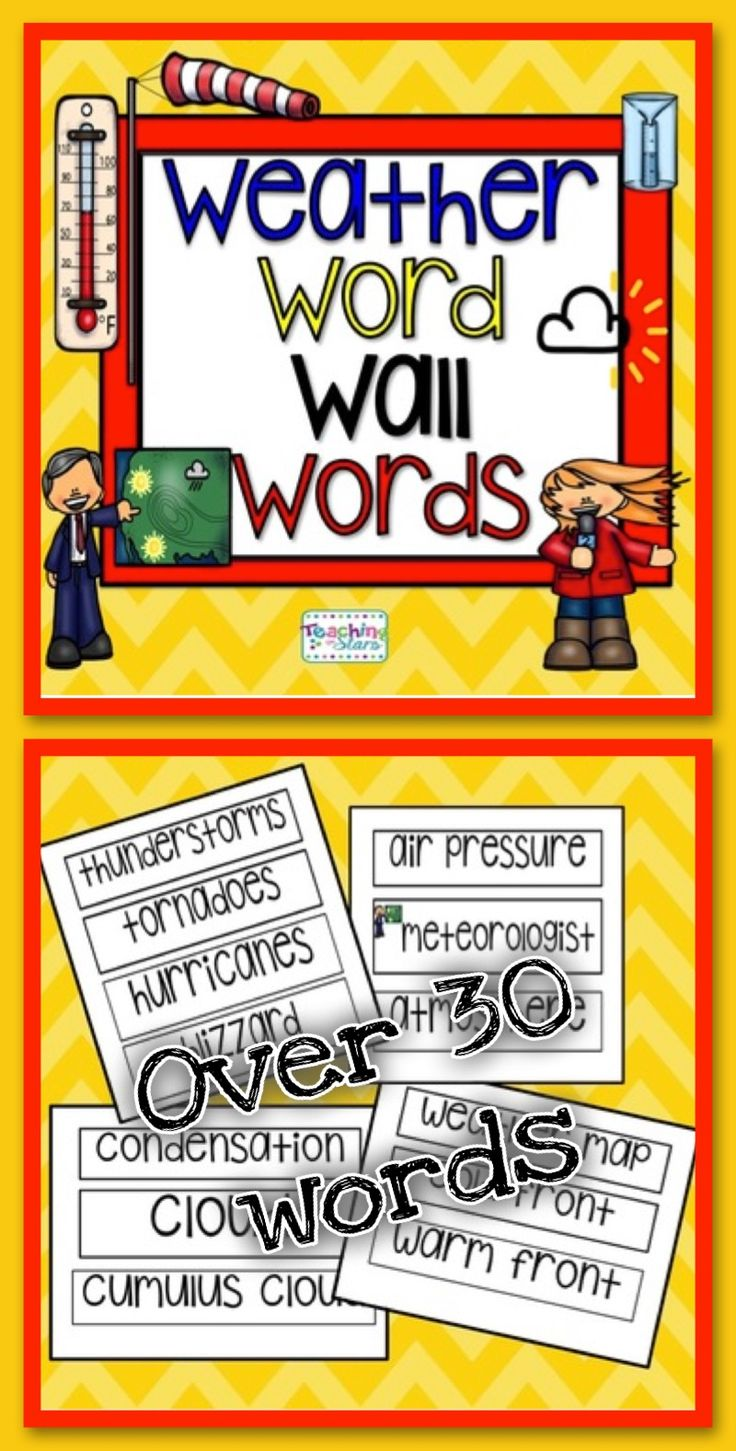 Weather Word Wall Words will enhance your weather unit. Adding content words to your word wall will give students a visual and will help them add content words to their vocabularies. Word Wall Words will also increase students using content words into their writing.