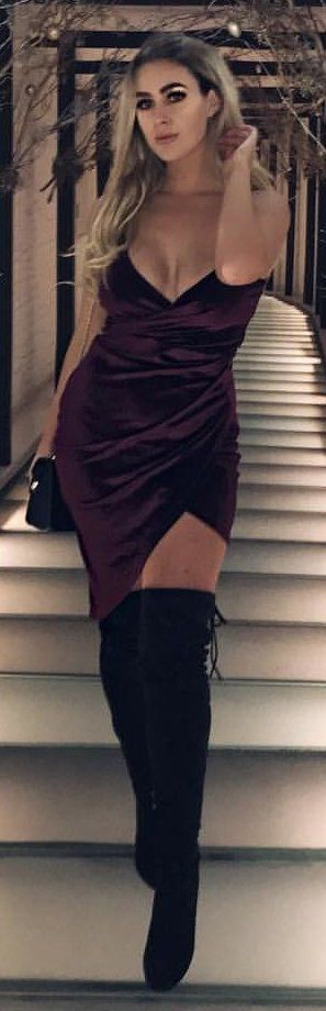 #winter #outfits maroon spaghetti strap dress and pair of black leather boots