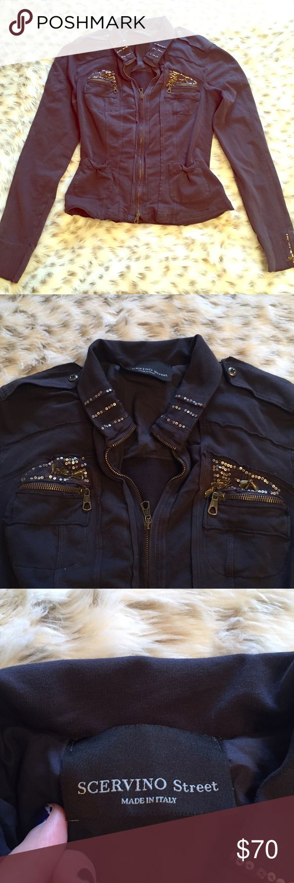 Scervino Street Sequin Full Zip Jacket Scervino Street made in Italy sequin jacket! Size small! Adorable military style ! No flaws! So cute and comfy! One of my favorites! Ermanno Scervino Jackets & Coats