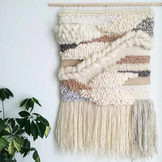 //// Coffee and Cream ////  This large handmade woven wall hanging was made on a frame loom and is 20 x 31 (including fringe). It is one of a