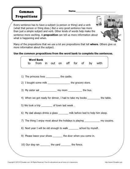 preposition worksheet common prepositions k12 pinterest prepositions grammar worksheets. Black Bedroom Furniture Sets. Home Design Ideas