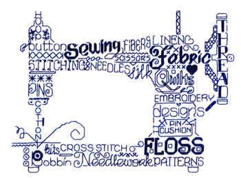 Let's Sew monochrome cross stitch chart Imaginating