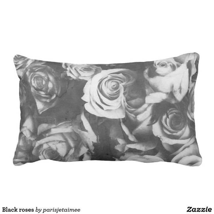 Black roses lumbar pillow