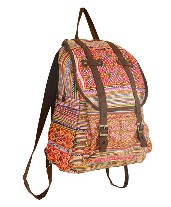 Orange Backpack Book Bag Handmade Hmong Vintage Fabric Fair Trade Thailand