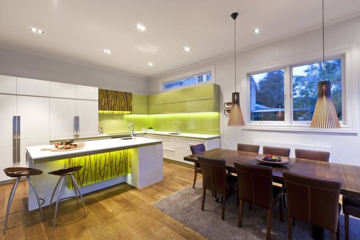 Kitchen Designs:Modern Design Kitchen With An Organic Feel With A Touch Of Green, Wood And Faux Bamboo Kitchens by Mal Corboy