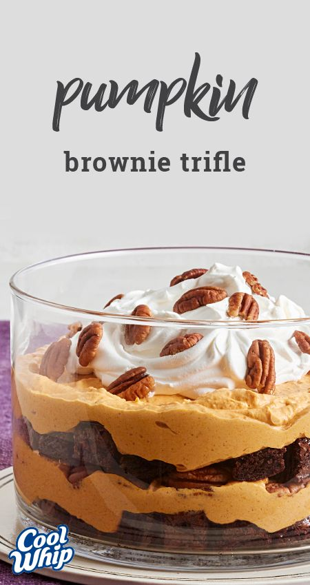 Brownie-Pumpkin Trifle – Take advantage of this pumpkin trifle recipe for your next fall party or potluck! With layers of flavor, this Thanksgiving dessert idea is just like you'd imagine autumn would taste.