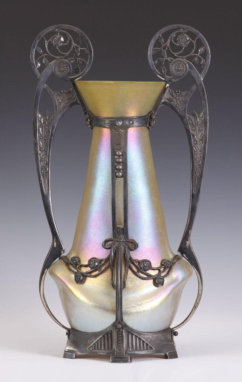 ❤ - Loetz | Monumental Art Nouveau Loetz Gold Iridescent Vase.