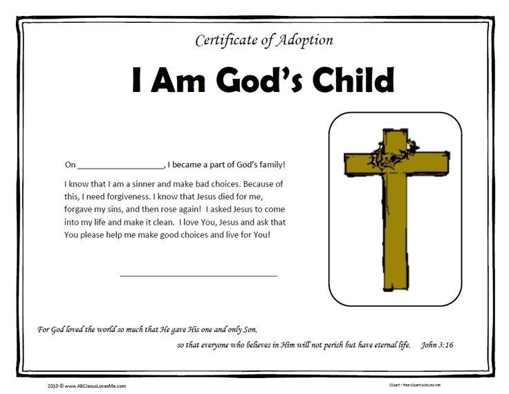 18 best Jesus images on Pinterest Adoption certificate, Bible - copy adoption certificate template