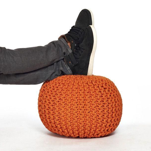 Knitted Pouf Orange