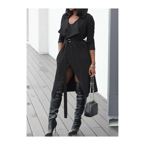 Rotita Turndown Collar Black Belt Design Trench Coat ($32) ❤ liked on Polyvore featuring outerwear, coats, black, long coat, print coat, black trench coat, long trench coat e trench coat