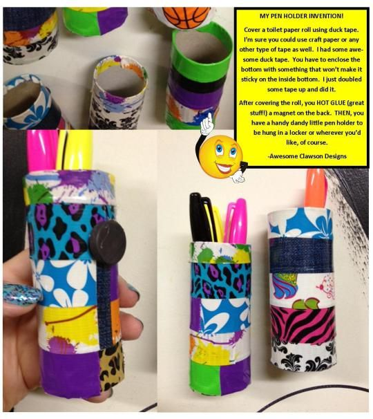 A cool pen holder I made using just a few items. Great for school lockers!