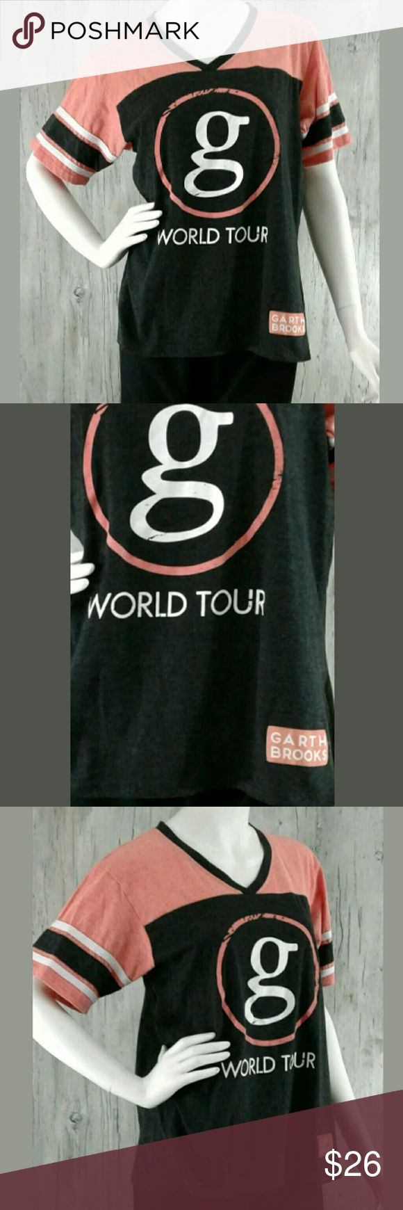 """💕Garth Brooks World Tour Concert Jersey Sz XL Garth Brooks World Tour Concert Jersey Sz XL Short Sleeve V Neck Orange Black White  * Gently Owned ~ Great Condition * Chest 20.5"""" Laying Flat * Sleeve - Short * Length 25"""" (Measurements Are Approximate)   🌞Pet Free / Smoke Free Environment 🎁 Fast Shipping K103 Garth Brooks Tops Tees - Short Sleeve"""