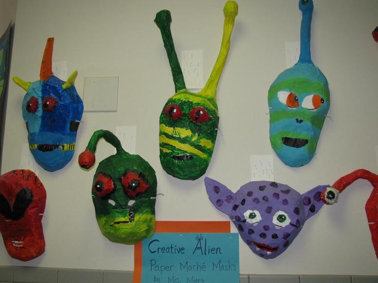 Paper mache alien masks art teacher susan joe masks for Paper mache activities