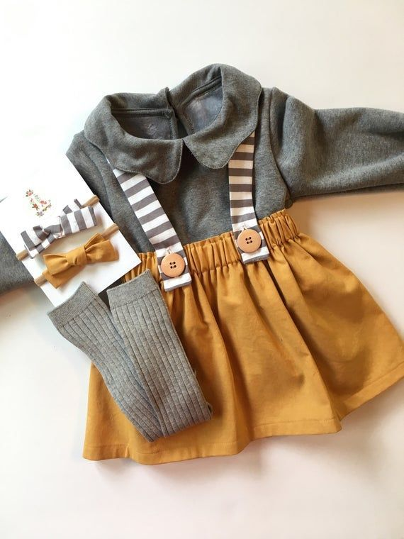 Girl's Gold Suspender Skirt with Gray Striped Straps, Toddler Vintage Style Jumper, School Gi…
