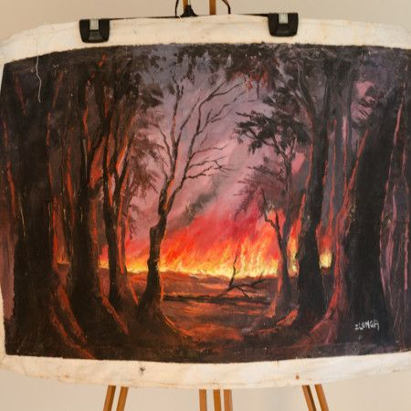70s Zambian Oil Painting – 'Forest Fire' #udt