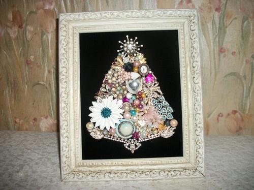 Vintage jewelry framed christmas tree by moondiamonds on etsy