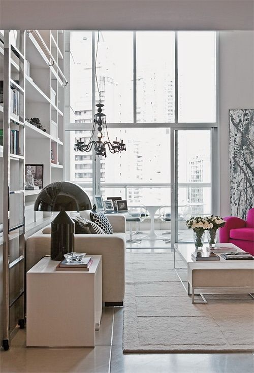 Floor to ceiling windows, fun lighting. - Apartment in Sao Paolo designed by Paul Magnani