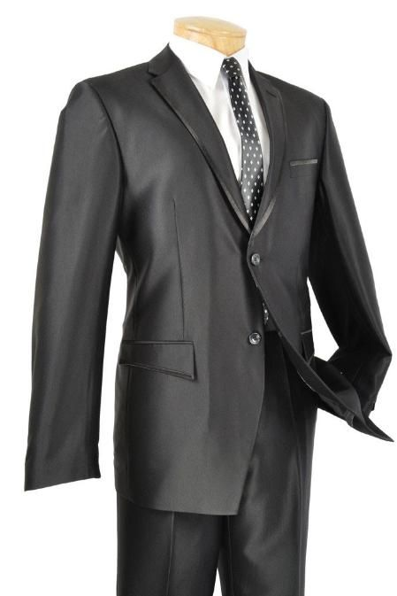Tuxedos - Slim Fit Black Framed Lapel Two Button Prom Tuxedo  Price: US $185
