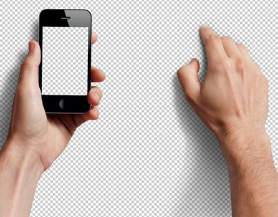 Male Hands with Smarphone Photo-realistic Mock-up PSD