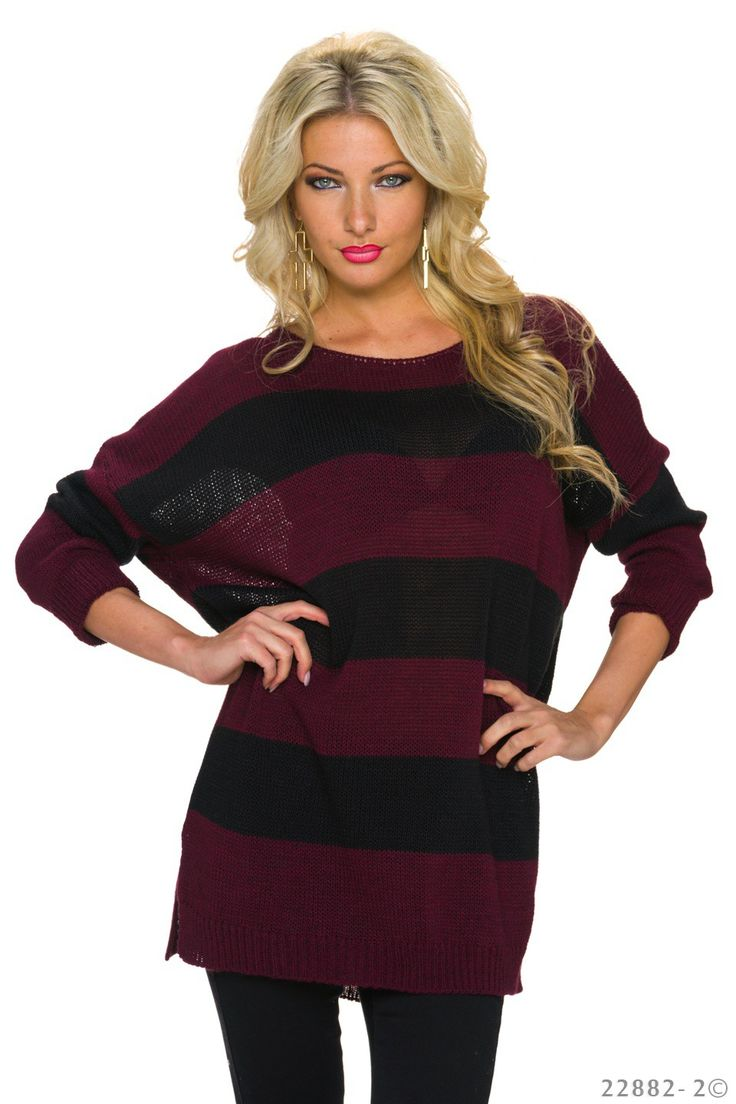 Pulover Stripped Look Burgundy. Pulover tricotat din material moale si gros, cu…