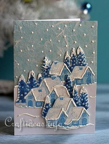 Fabric Christmas Card Winter Welcome 2