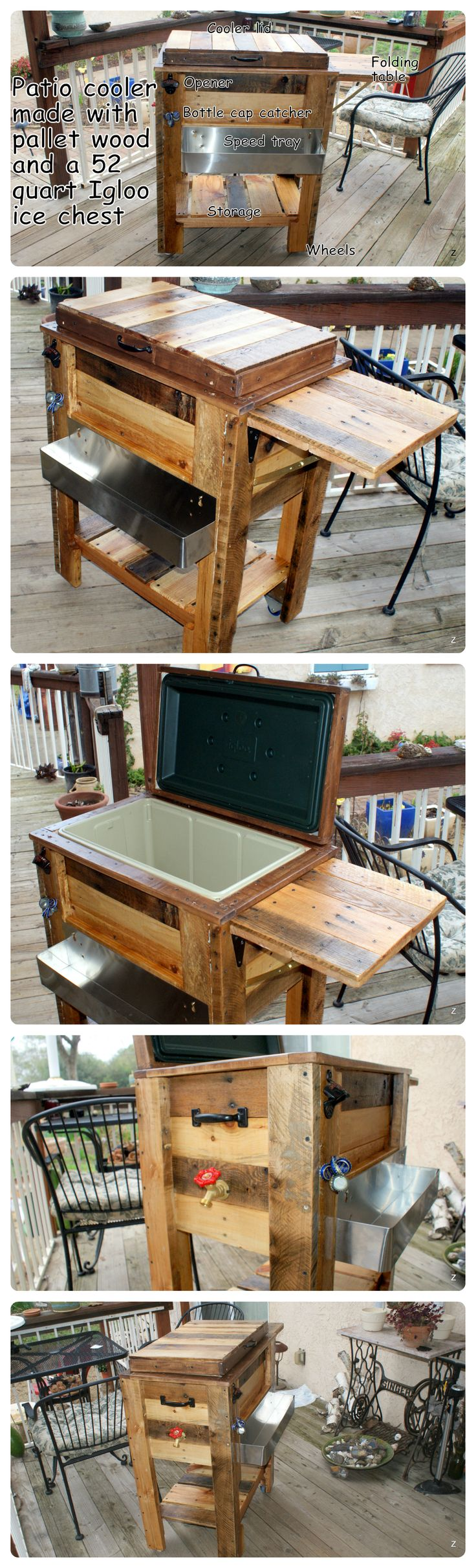 Patio Cooler from upcycled pallet wood and Igloo cooler.