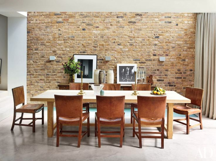 In The Rose Uniackeu2013designed London Home Of Screenwriter Peter Morgan,  Vintage Charlotte Perriand Sconces Are Mounted In The Dining Room, Which Is  U2026