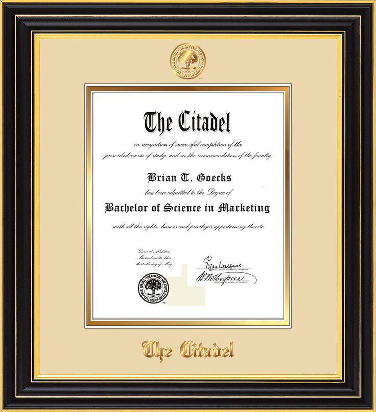 the citadel diploma frame satin black citadel seal cream on gold professional