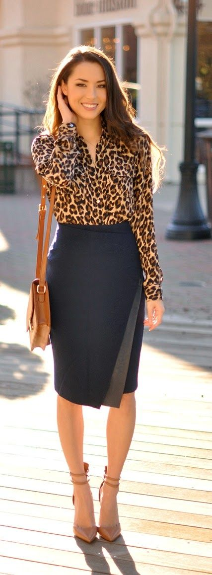 Cougar print, pencil skirt, nude heels / LoLus Best Women's Fashion