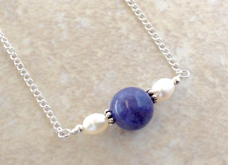 Tanzanite and Sterling Silver Necklace, Natural Tanzanite with Freshwater Pearl Necklace on Sterling Silver, 16 inch Blue Gemstone Necklace by AustinDowntoEarth on Etsy